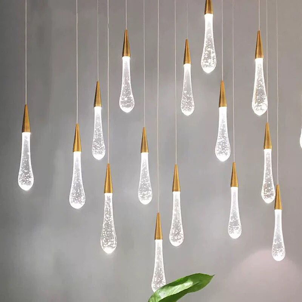 Villa Staircase Pendant Lights Long Cable Hanging Lamps Simple Pendant lamp for Restaurant Bar Indoor Decorative Lighting
