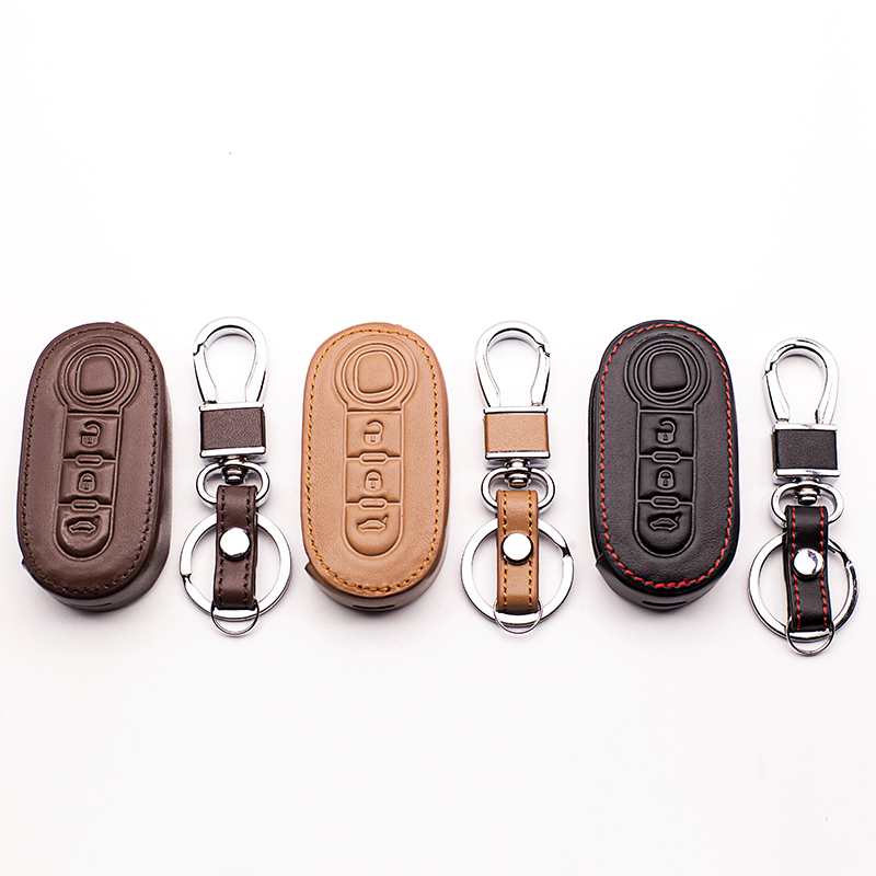 Fashion men 100% Leather Key Car Key Holder Car Cover Case for Fiat 500 Panda Punto BravoCar Duster 3 buttons remote control autewode remote key case shell cover fits for fiat 500 panda punto bravo car alarm keyless car accessories 1pc colorful page 5