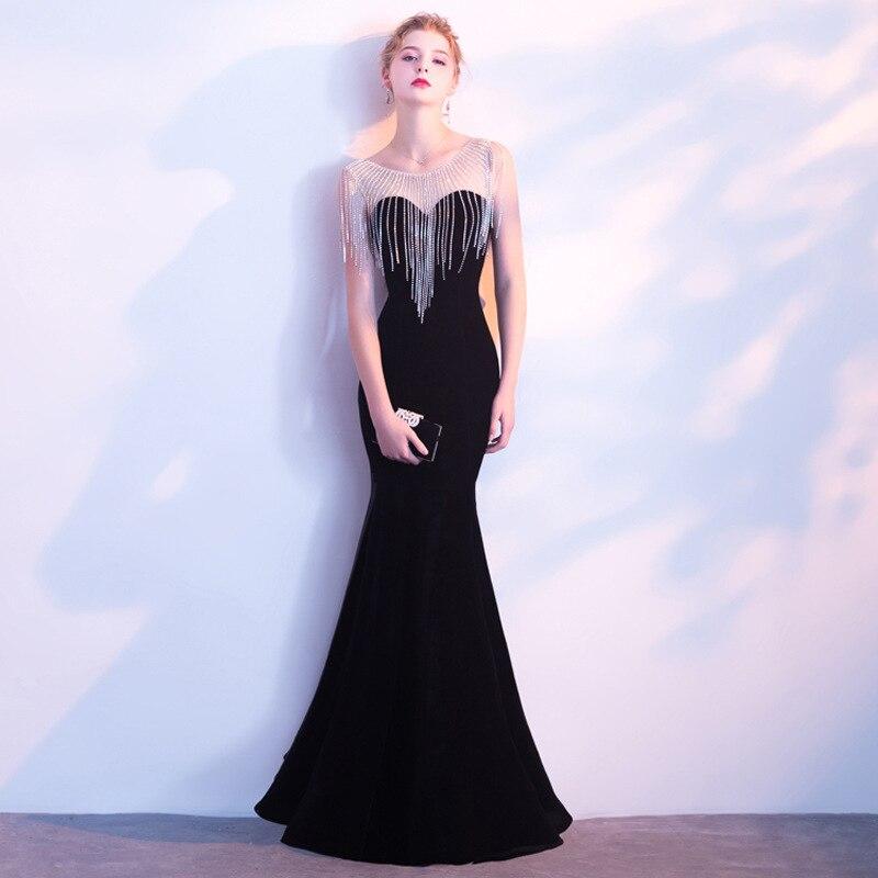e9846c08de3 Vivian s Bridal 2018 модное Бисероплетение Tassle велюровое вечернее платье  Русалка чистый цвет Иллюзия сетка женское длинное вечернее платье