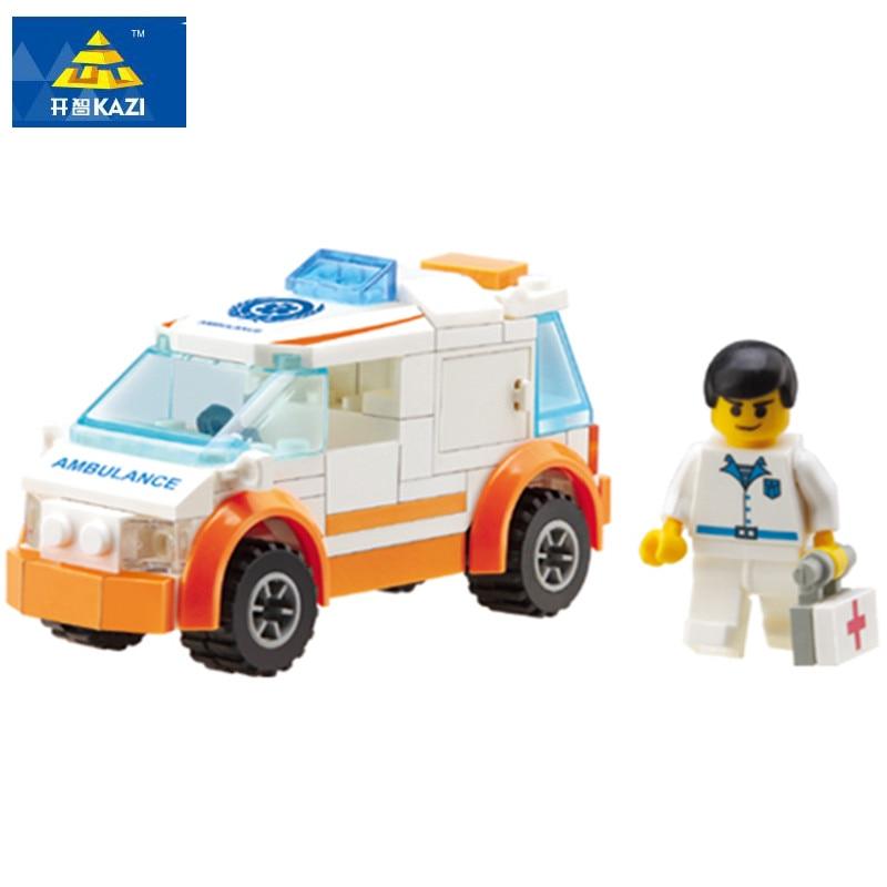 Kazi City Ambulance Rescue Team Building Blocks Diy Educational Toys Compatible with Legoe Birthday Gift Brinquedos for boy85011 380pcs kazi 8045 city build crane aassembles particles diy educational blocks toys compatible birthday christmas new year gift