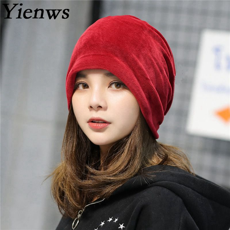 Yienws Bonnet Femme Winter Hats For Women Burgundy Solid Headgear Girl Warm  Plush Skullies And Beanies Hat Slouch Cap YIC062-in Skullies   Beanies from  ... 8d87d87eaf7e