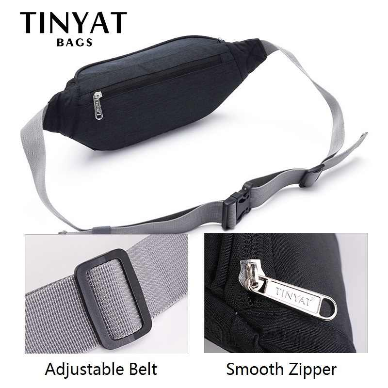 a95bfcfd9f6 ... TINYAT Men Waist Bag Pack Travel Phone Belt Bag Pouch for Men Women  Casual Unisex Shoulder ...