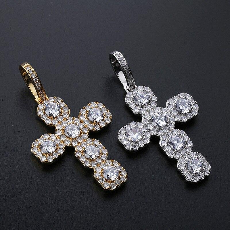 Zircon complet super grande croix glacé sur Bling solide pendentif rétro hiphop grand collier pendentifs pour hommes bijoux