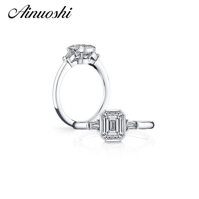 AINUOSHI Elegant Emeraled Cut Ring 925 Sterling Silver Anillos Mujer Nscd Women Wedding Bridal Band Customizd