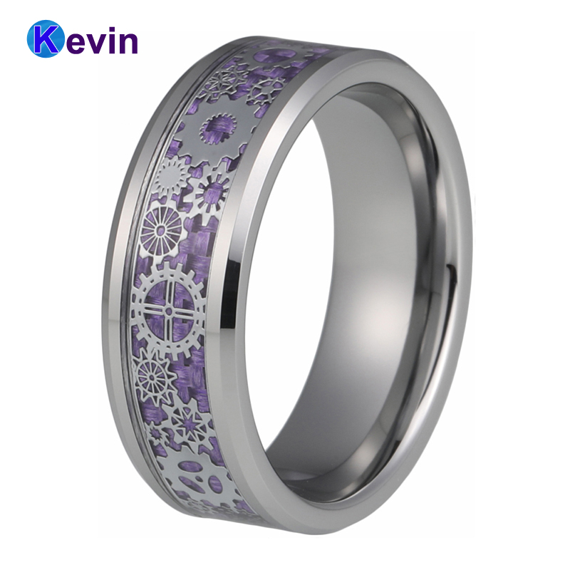 Tungsten Wedding Ring for Men Women 8MM With Mechanical Gear Wheel Purple Carbon Fiber Inlay Beveled Edges Comfort Fit