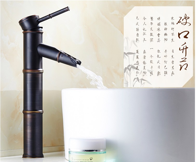 Oil Rubbed Bronze Black Finish Bathroom Taps Sink Mixer/Fashion Single Handle hot and cold  wash basin tap/ Waterfall Faucet