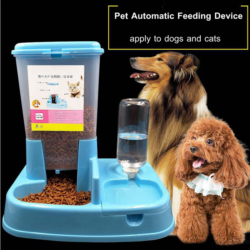 2017 Environmental Adjustable Automatic Feeder Drinking Fountain Dog Cat Feeder <font><b>Water</b></font> Dispenser supply Pet Feeder Dog <font><b>Food</b></font> Bowl