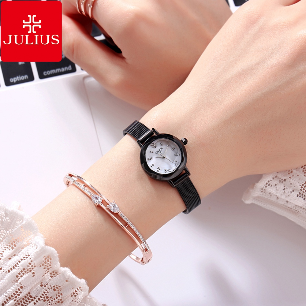 Ladies Full Steel Mesh Band Waterproof Watches Women Fashion Casual Japan Quartz Wrist Watch Top Brand Julius Best Analog Clock julius women s watch for small wrist ladies top quality luxury blue wristwatches japan movement waterproof leather clock ja 1077
