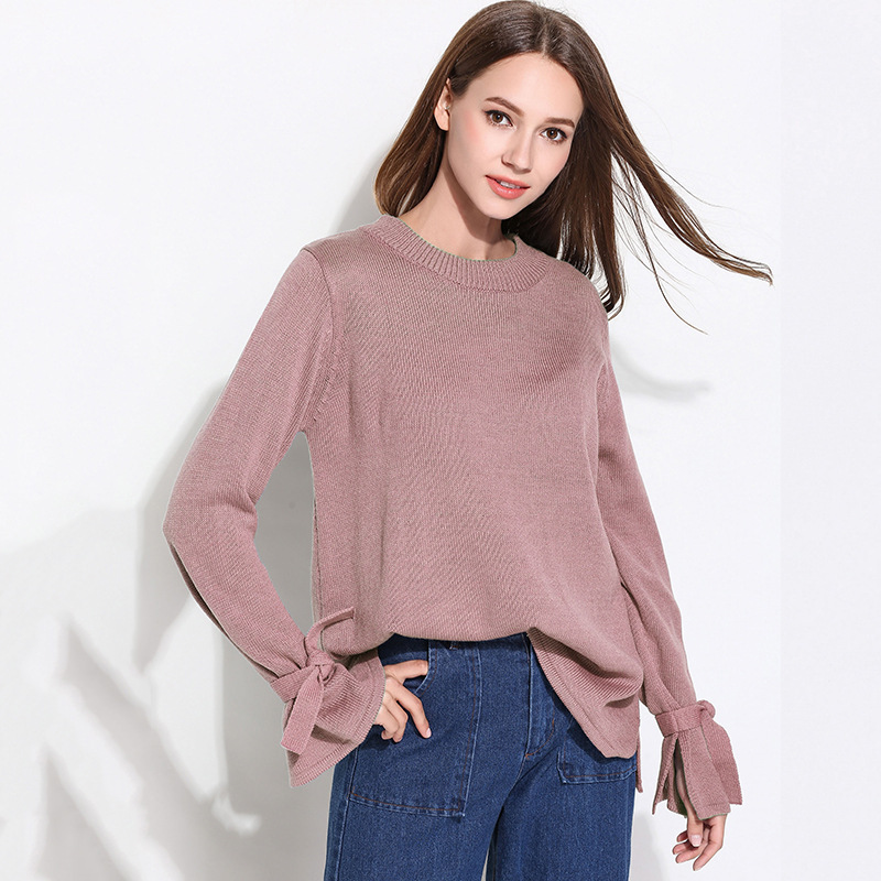 Afire Leaf Cute Free Pullovers Winter Women' Strong Coloration Knitted Sweater