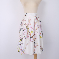 New High Quality Women Skirts Casual Peach Blossom Pattern High Waist Empire Personality Pleated Knee Length