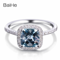 BAIHE Solid 14K White Gold 1.2CT Certified light blue Cushion Genuine Aquamarine Wedding Women Trendy Fine Jewelry Gift Ring