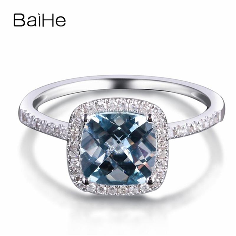 Anel de Diamantes de Casamento na Moda Presente para as Mulheres Baihe Sólida Aquamarine Ouro Branco 0.20ct Natural Fine Jewelry 14k 1.2ct
