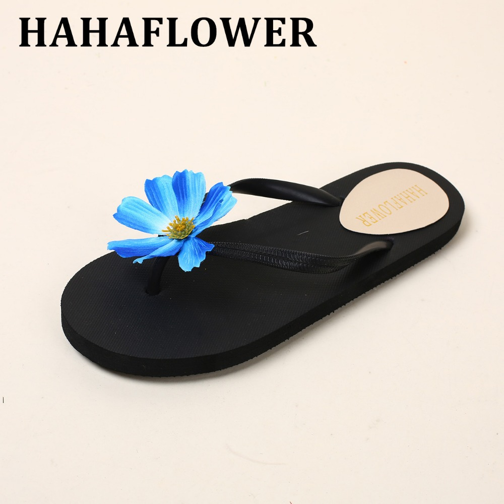 HAHAFLOWERWomen Slippers Summer Shoes Women Flip Flops Flats Slippers Fashion Flower floral lady's slippers Shoes Woman lanshulan bling glitters slippers 2017 summer flip flops platform shoes woman creepers slip on flats casual wedges gold