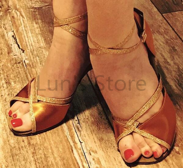 New Ladies Tan Satin Latin Salsa Dance Shoes Tango Bachata Dance Shoes ALL SIZE