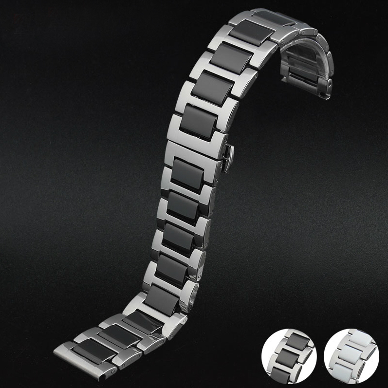 16mm 18mm 20mm Silver Stainless Steel with Black Ceramic Watchbands Bracelet Double push watch buckle Free