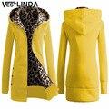 VESTLINDA Плюс Размер Женщин Зимнее Пальто Модные Капюшоном Верхняя Одежда Женщин Толстовки Стильный Леопардовый Молния Пальто Вскользь Куртка