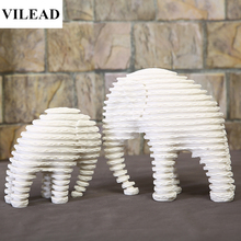 VILEAD White Sandstone Striped Abstract Elephant Mother & Son Figurines Animal Statuettes Vintage Home Decor Creative Souvenirs