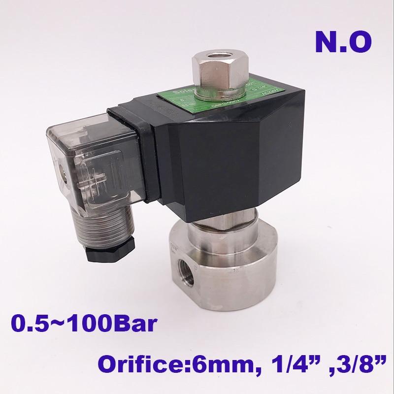 GOGOATC 0 5 100bar SS304 3 8 1 4 inch high pressure solenoid valve Orifice 6mm