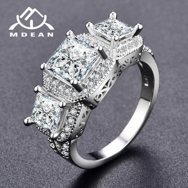 MDEAN White Gold Color Rings For Women women Wedding rings Jewelry Bijoux ring vintage Accessories   ring Size 6 7 8  MSR170