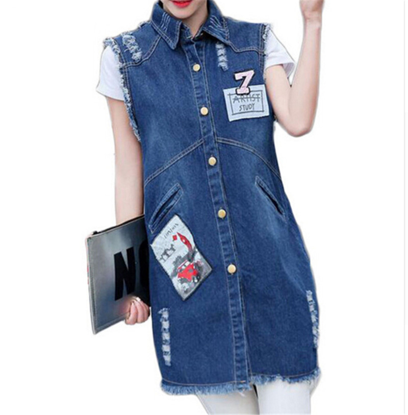 yalee Vests & Waistcoats New Fashion 2019 Spring Summer Removable Hat Splice Pockets Single Breasted Hooded Long Loose Denim Vest Women Y507