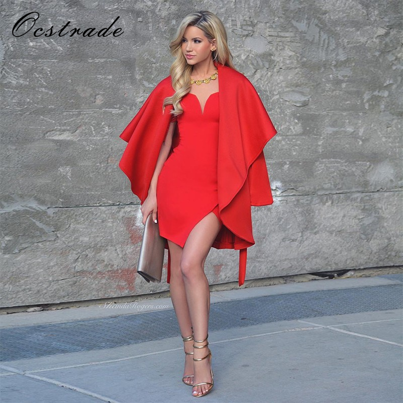 (Out Of Stock )Ocstrade 2017 Summer Women Off the Shoulder Dress Elegant Sexy Red Bandage Dress with Sleeves for Women