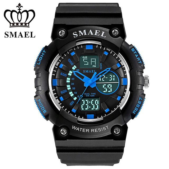 SMAEL LCD Dual Time Display Digital Band Watches Analog Quartz Backlight Date Stopwatch Buckle Mens Wrist Watch / WCH0013