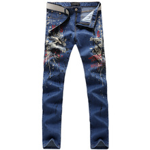 2017 new trend straight leg denims lengthy males male printed denim pants cool cotton designer good high quality model trousers MJB037