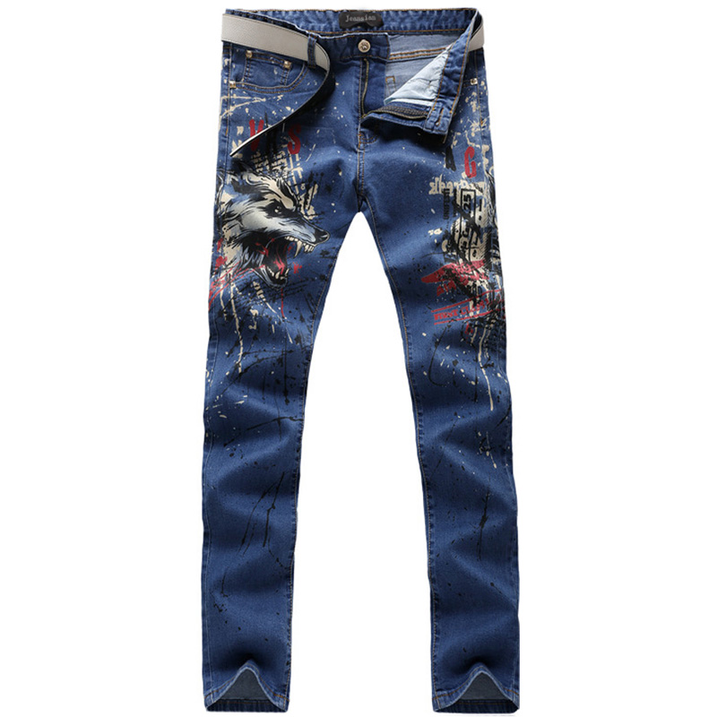 2017 new fashion straight leg jeans long men male printed denim pants cool cotton designer good