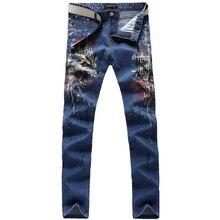 2017 новая мода прямой ногой джинсы длинные мужчины мужской печатные джинсовые брюки прохладный хлопок дизайнер хорошее качество бренда брюки MJB037