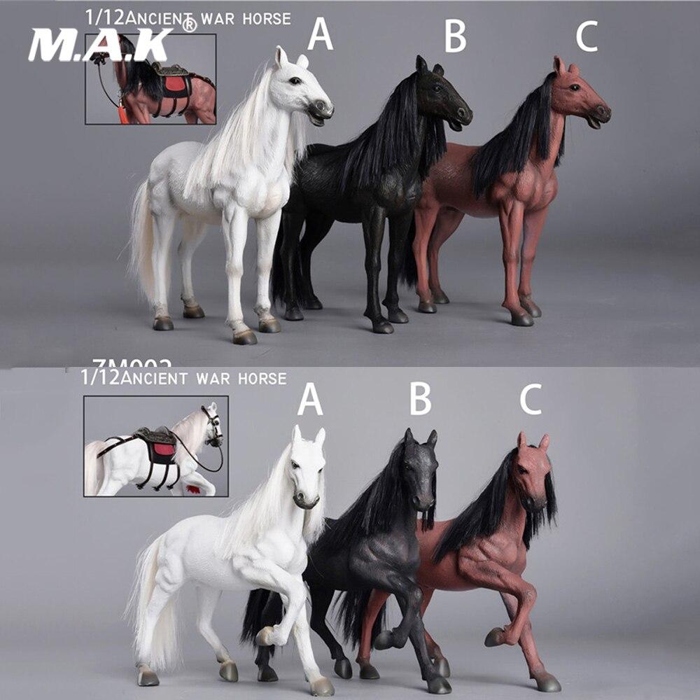 Cheval de guerre ancien à l'échelle 1/12 ZM001/ZM002 Ver en cours d'exécution./modèle Animal vivant avec accessoires pour figurine