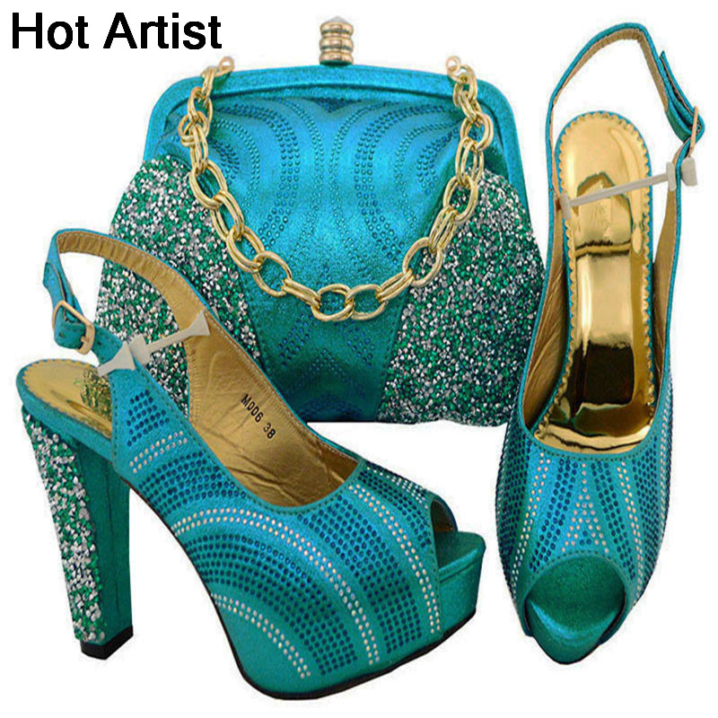 Hot Artist Latest Nigerian Rhinestone Party Shoe And Bag Set Italian Style High Heels Shoes And Bags Set For Wedding Dress YK006