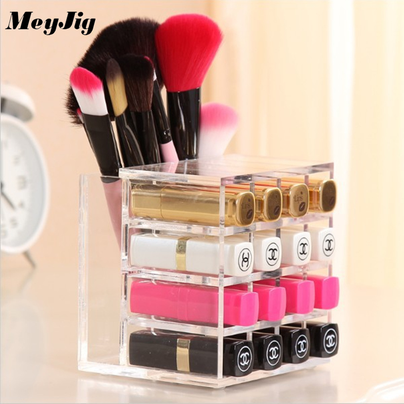 Hot 16 Girds Acrylic Lipstick Holder Display Stand Clear Storage Box Makeup Organizer For Cosmetics Desktop Dressing Table Case