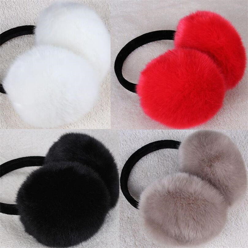 INDJXND Unisex Women Men Warm Fur Earmuffs Unisex Girls Winter Earwarmers Ear Muffs Earflap Warmer Headband Fur Round  Earmuffs