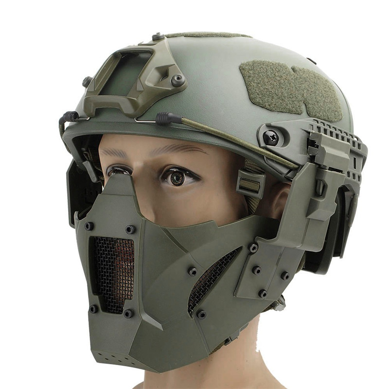WosporT Tactical Airsoft Paintball Iron Warrior Half Face Mask Single Use With Fast Helmet Military Protect Cycling Outdoor
