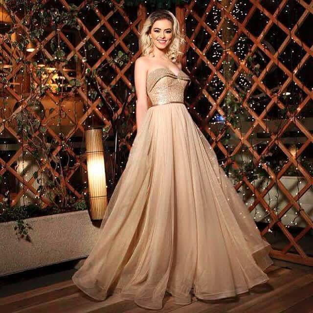 Custom Made Rosettes Sequins Champagne Prom Dresses Top Puffy Tulle Maxi Dress Bottom Formal Evening Party Gowns Dresses Vintage