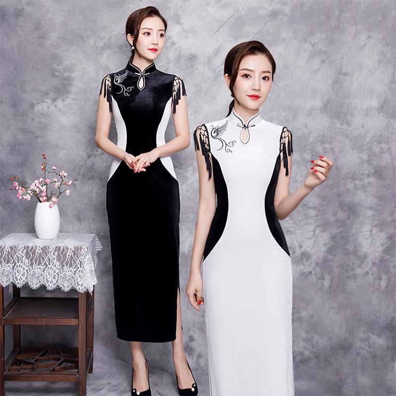 Femmes Nouveau Traditionnel Noir 1 S Robe Blanc Longue Nouveauté Col Formelle Chinois Taille Mandarin Cheongsam Qipao 2 xxxl Automne tqwrRgt