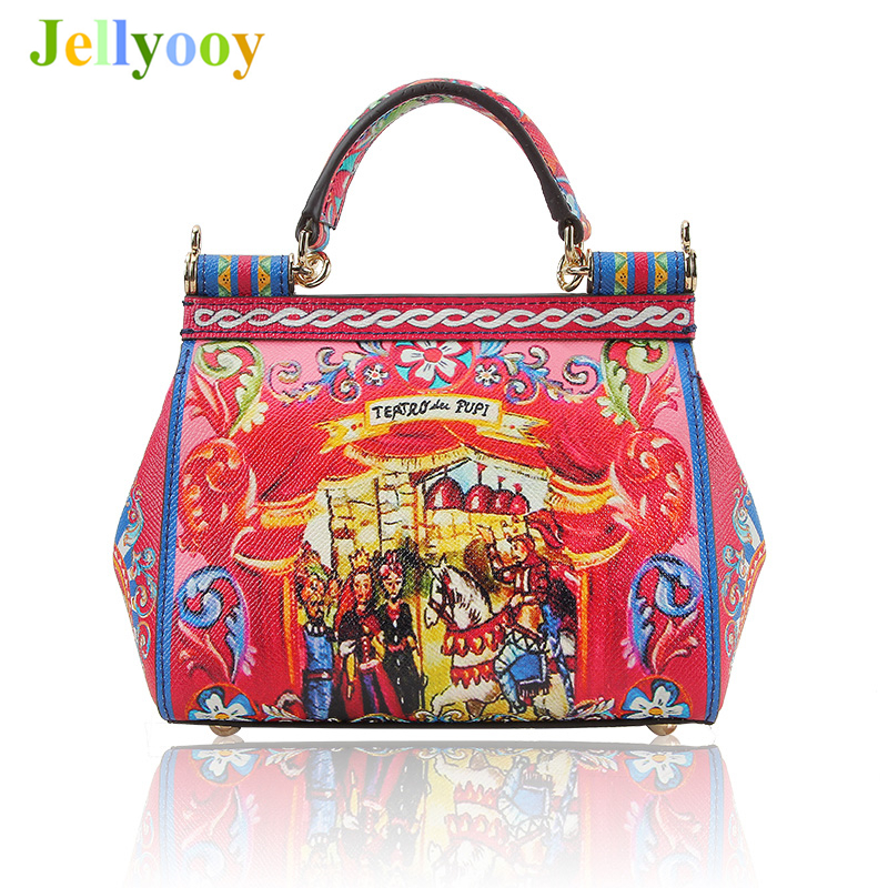 Luxury Italy Brand Sicily Ethnic Prince Knight Pattern Bag Leather Sicilian Casual Tote Platinum Bag Lady Shoulder Messenger Bag luxury italy brand sicily ethnic bag genuine leather women casual tote platinum bags star moon print lady shoulder messenger bag