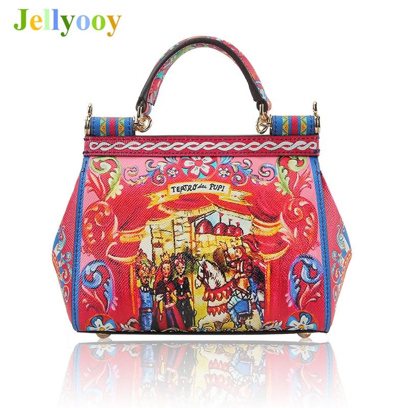 Luxury Italy Brand Sicily Ethnic Prince Knight Pattern Bag Leather Sicilian Casual Tote Platinum Bag Lady Shoulder Messenger Bag все цены