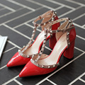 2016 New Fashion Pointed Sandals T Strap Rivet Side Empty Thick Heel High Shoes High Heels Sexy Summer Sandals Red Bottom G182