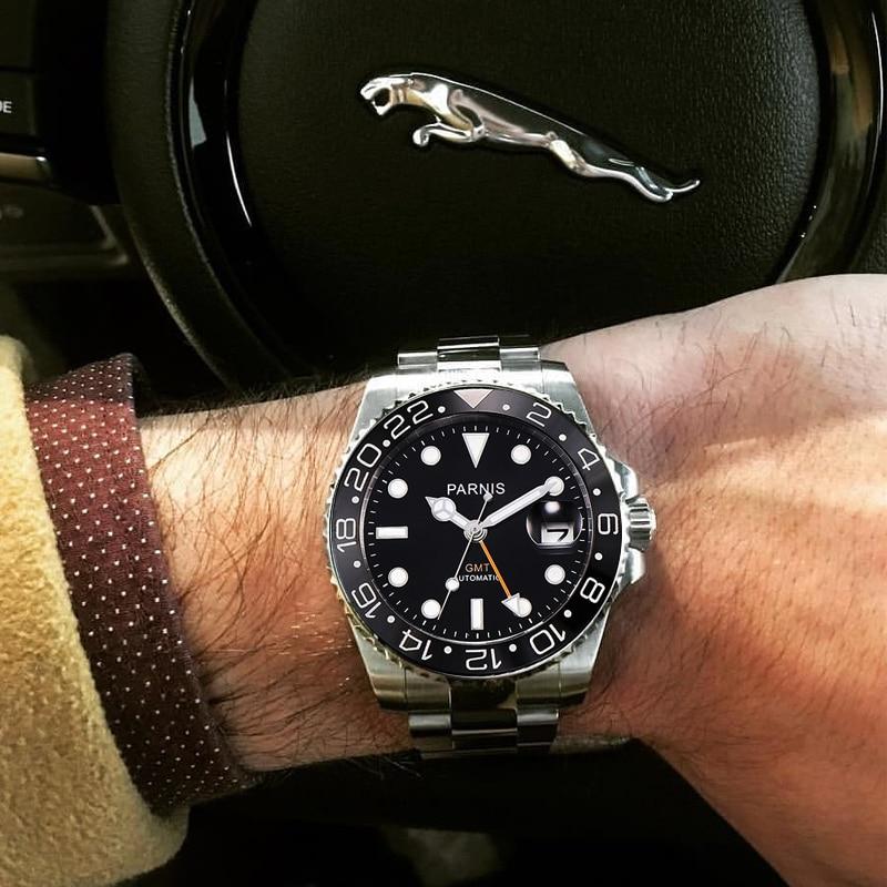 Parnis 40mm Mechanische Horloges GMT Sapphire Crystal Man Horloge 2018 Diver Horloge Automatische relogio masculino Rol Luxe Horloge Mannen-in Mechanische Horloges van Horloges op  Groep 3