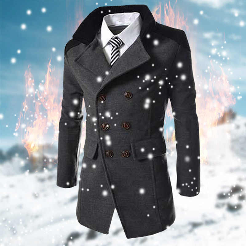 3199215f6647 ... Hot Sale Autumn Long Wool Coat Men Fashion Turn-down Collar Wool Blend Double  Breasted ...