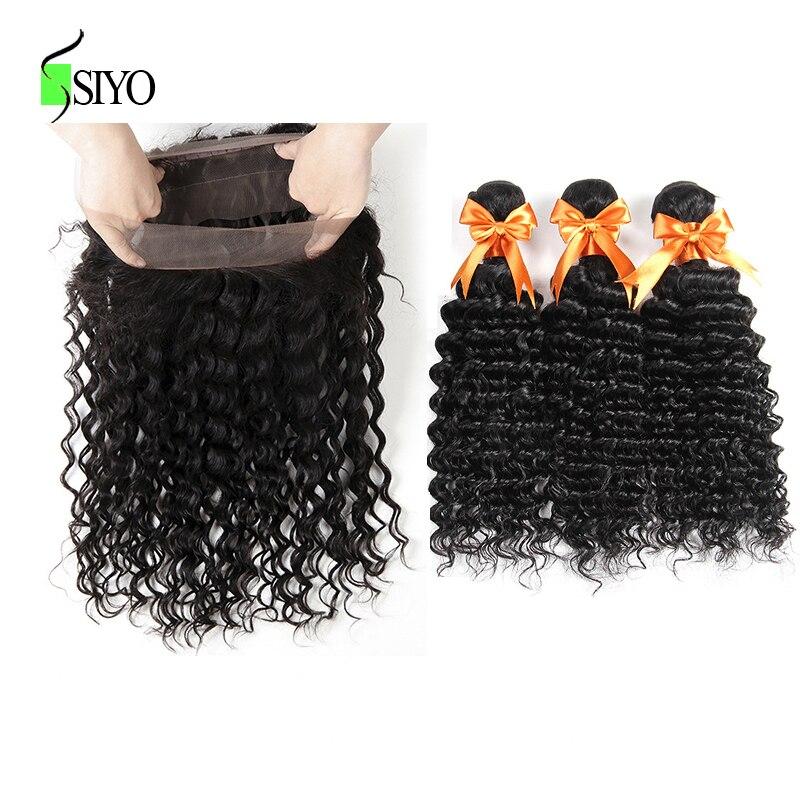 Siyo 360 Lace Frontal Closure With Bundles Peruvian Deep Wave Human Hair 360 Frontal With Baby Hair Remy Hair Weaves Shrink-Proof 3/4 Bundles With Closure