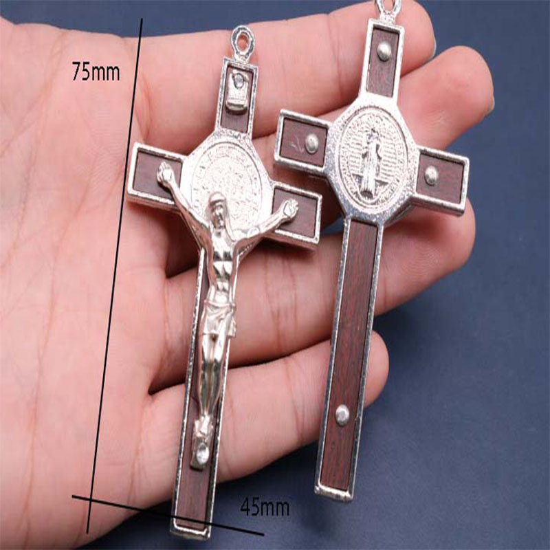 Classic Jesus Alloy Wood Cross Jesus Mercy Portrait Cross Medal, 20 pieces. Delicate glamour Jesus cross-in Charms from Jewelry & Accessories    1