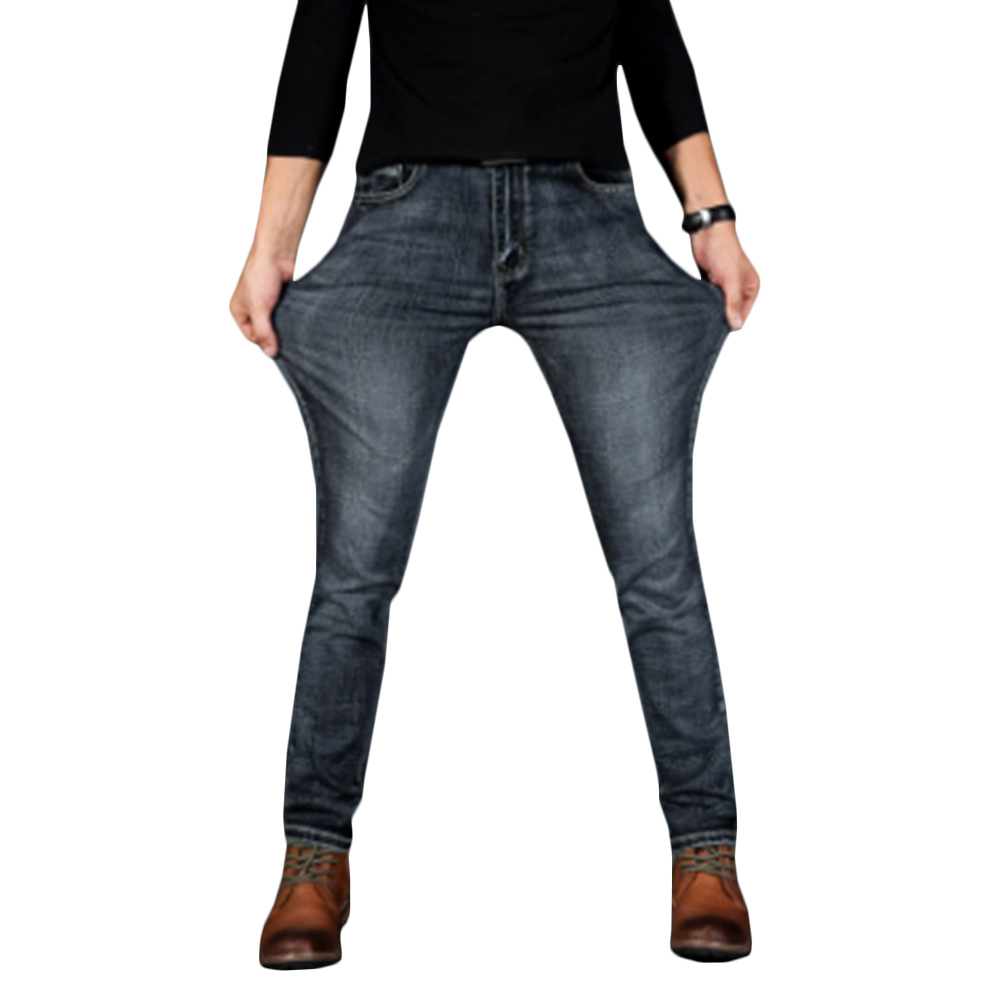 Mens Jeans New Fashion Men Casual Jeans Slim Straight High Elasticity Feet Jeans Loose Waist Long Trousers Hot Sell