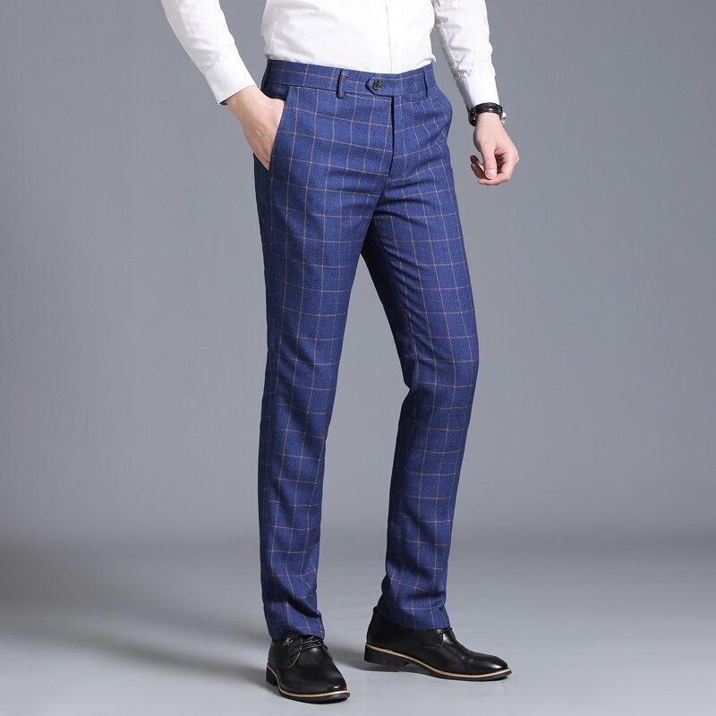 2019 Men's Suit Suit Pants Plaid Business Casual Fashion Slim Pants Classic Retro Plaid Wedding Pants