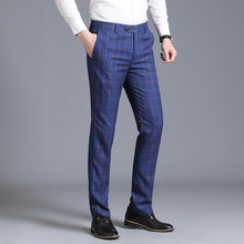 2019 Mens suit pants plaid business casual fashion slim classic retro wedding