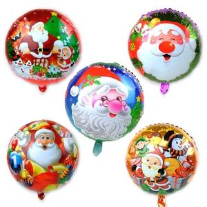 Image 1 - 100PCS/lot 18inch Santa Claus Snowman Christmas tree foil balloons Merry Christmas New Year Party Helium Balaos Decor Supplies