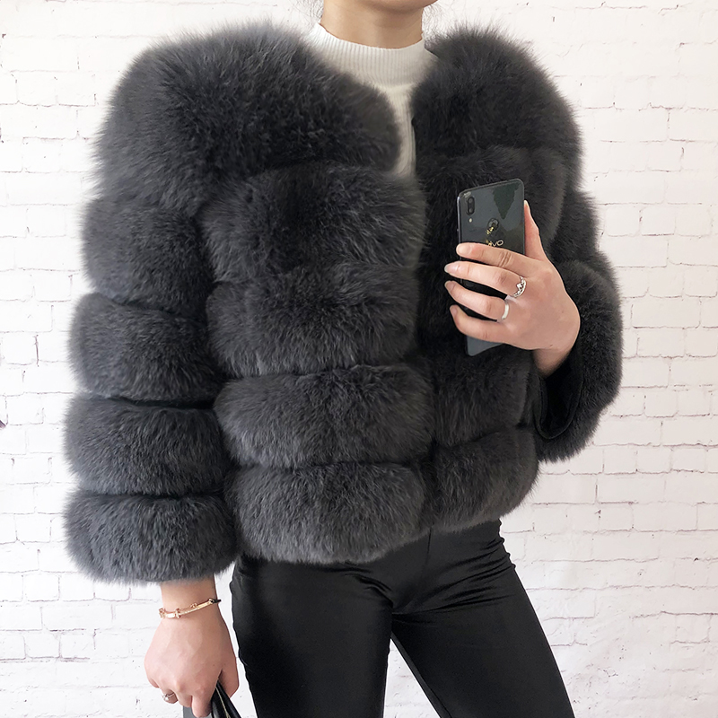 2019 new style real fur coat 100% natural fur jacket female winter warm leather fox fur coat high quality fur vest Free shipping 119