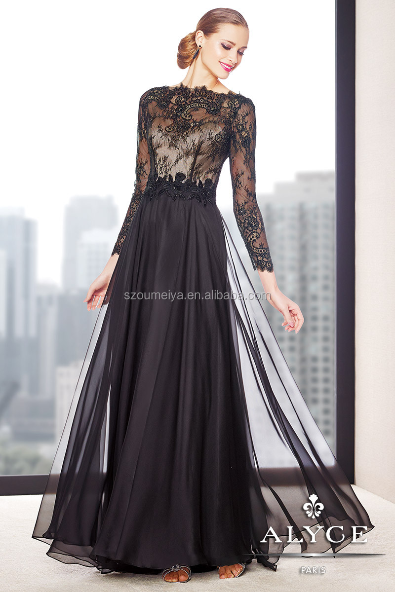 OUMEIYA OEM273 Flowy Chiffon Black and Nude Lace Long Sleeve Mother ...