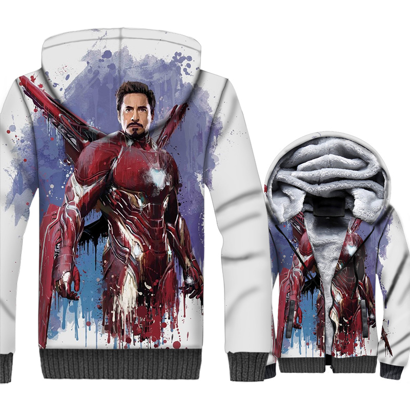 male fitness harajuku coats rib sleeve hooded winter streetwear wool liner jackets Super hero iron Man 3D prints tracksuits 2019